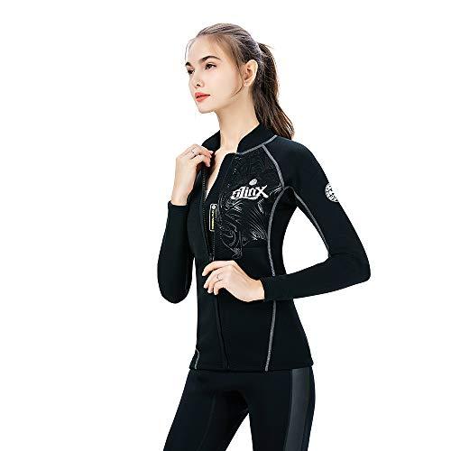 Damen Neoprenanzug Jacke Lange Ärmel 2 mm Neopren Wetsuits Thermal Top zum Schwimmen Scuba Diving Surfing,Black,XXXL