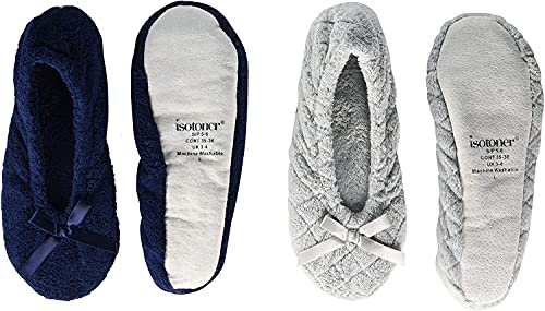 isotoner womens 2 Pack Ballerina Slipper Quilted and Solid Ballet Flat, Light Grey Quilted, Navy Blue Solid, 8 9 US