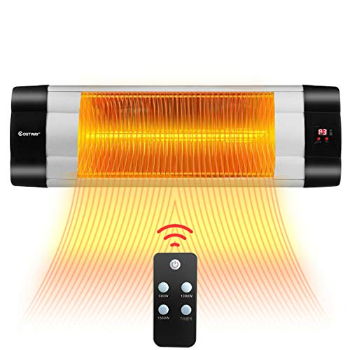 COSTWAY Wall-Mounted Patio Heater, 1500W Adjustable Infrared Heater with 24H Timer, 3 Modes, Quiet 3s Instant Heat, Quiet, Remote Control, Easy Install Stand, for Outdoor, Home, Backyard