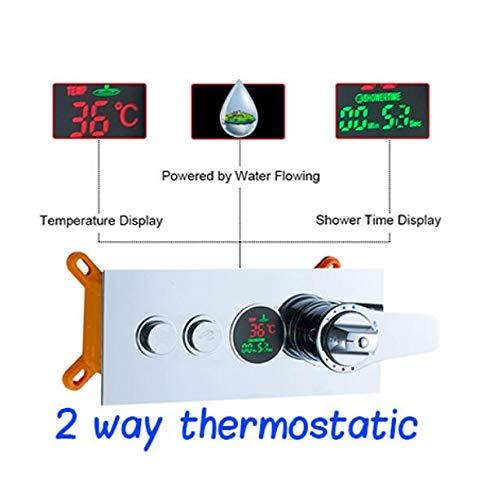 MEICHEN Temperatur Digitalanzeige Dreifachthermostatpatronen Ventil Bad 2 Wege Catridge Ventil für Duscharmatur Duschpaneel,2waythermostatics