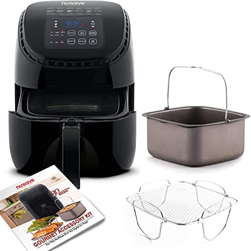 NUWAVE BRIO 3-Quart Digital Air Fryer With Bonus Pan and Frying Rack with One-Touch Digital Controls, 6 Easy Presets, Precise Temperature Control, Recipe Book, Wattage Control, Preheat and Reheat