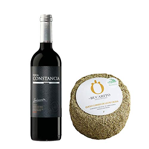 Pack de Vino tinto Finca Constancia Seleccion y Queso Curado de Leche Cruda en Romero - Vino de 75 cl y Queso de 900 g aprox - Mezclanza
