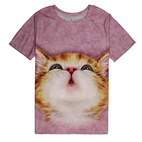MAYOGO Cat Tshirt Herren Kurzarm Summer 3D Tshirt Fun Shirts Herren Lustig T Shirt für Männer Cat Tshirt Katzen Shirt Tops mit Rundhalsausschnitt