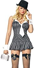 Leg Avenue Black Pinstripe Gangster Girl Dress Sexy Adult Halloween Costume Skimpy Mafia Chick Mobster Outfit