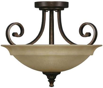 Carina 2-light Aged Bronzeセミフラッシュマウント
