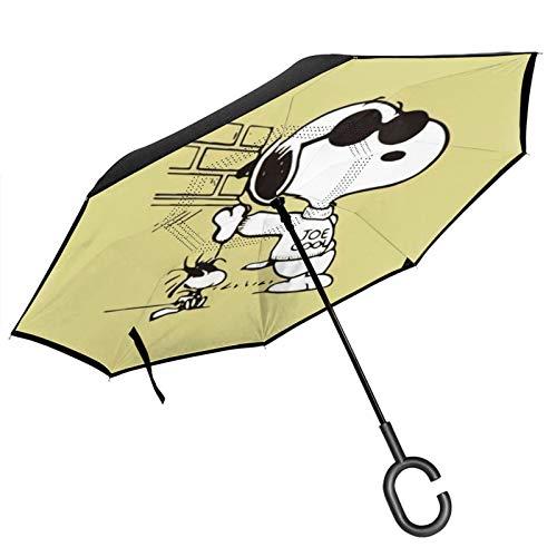 PLUAN S-noopy Double Layer Inverted Regenschirm 8 Rippen Regenschirme C Form Griff Reverse Folding Winddicht Regenschirm für Damen und Herren, Schwarz (Schwarz) - Umbrella-218958921-1