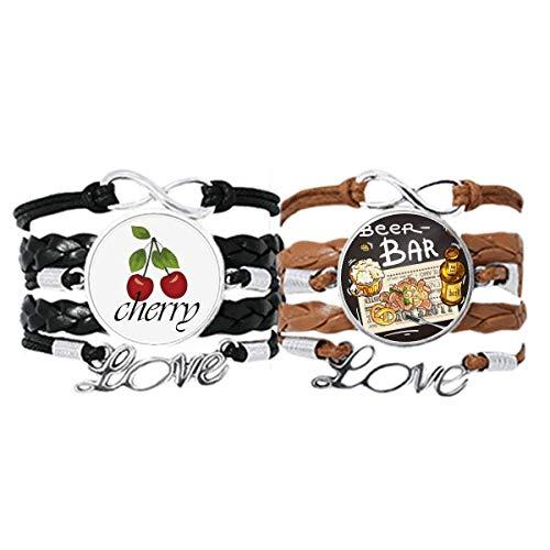 Bestchong Bier Bar Gourmet Brot Frankreich Armband Handschlaufe Leder Seil Cherry Love Armband Doppelset