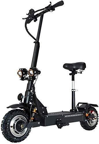 Elektrische scooter voor volwassenen, 3200 W, motor, maximale snelheid, 85 km/h, dubbele aandrijving, 11 inch, off-road CST scooter, inklapbaar, met zitting en accu 60 V