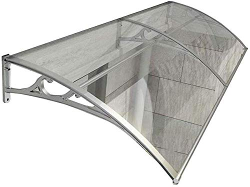 WQL Vordach Türdach Für Draußen Pultbogenvordach Überdachung Polycarbonat Fenstermarkise Sonnenschutz Regenschutz Vordach Für Türen, Fenster Und Terrassen-80cmx200cm Gray Bracket