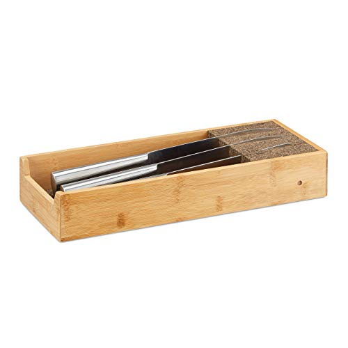 Relaxdays Messerhalter Bambus, Schubladeneinsatz für Messeraufbewahrung, Schubladenorganizer, HBT: 6,5x38x15,5cm, natur
