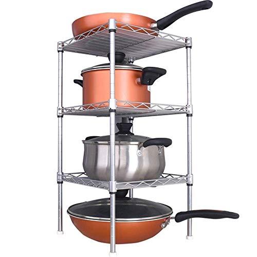 NBVCX Accessoires de Vie étagère de Cuisine étagère de Cuisine étagère d'angle à Trois Niveaux Pot/Couvercle de Pot/assaisonnement/Support de Rangement pour Planche à découper