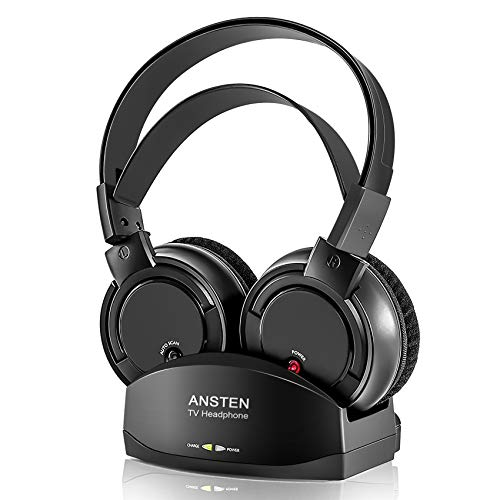Wireless Headphones for TV Watching, ANSTEN Over Ear Headsets with RF Transmitter Charging Dock with 3.5mm AUX/RCA, Rechargeable Stereo TV Wireless Headphone,164ft Work Rang, No Audio Delay