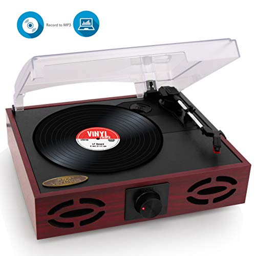Pyle Home Upgraded Version Pyle Vintage Record Player, Classic Vinyl Player, Retro Turntable, MP3 Vinyl, Music Editing Software Included, RCA Output, USB Cable, MP3 Converter