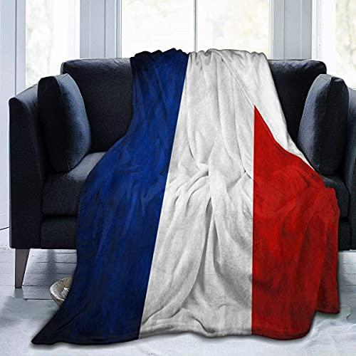 GOSMAO Weiche Kuscheldecke, Frankreich-Flagge, Warme Mikrofaser Fleecedecke, Flauschige Wolldecke, Decke für Sofa, Couch, Tagesdecke oder Überwurf 150x125 cm