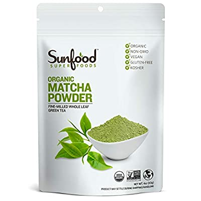 Sunfood Superfoods Matcha Green Tea Powder- Organic. For Lattes, Cooking, Baking and More. Unsweetened. 100% Pure Whole Leaf Green Tea. Culinary Grade. Natural Caffeine Coffee Substitute. 4 oz Bag