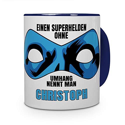 printplanet Tasse mit Namen Christoph - Motiv Superhelden ohne Umhang - Namenstasse, Kaffeebecher, Mug, Becher, Kaffeetasse - Farbe Blau