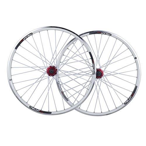 Set di Ruote for Bici da MTB da 26 Pollici V Brake Compatibile Rilascio Rapido Freno Disco 32 Loch 7 8 9 10 velocità (Color : White, Size : 26inch)