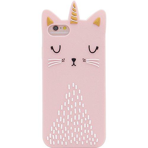 Anya Silikon-Schutzhülle, 3D-Cartoon-Design, weiches Silikon, für iPhone 6, 6S, für Männer, Mädchen, Teenager, Kinder, Frauen, Einhorn-Katze, Rosa
