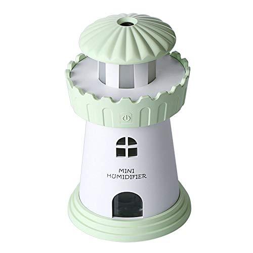 RUGU Humidificador de Aire por ultrasonidos Faro de Coche con USB Oficina de luz LED Purificador de Aire Mini portátil Esencial del difusor del Aceite del Aroma,Verde