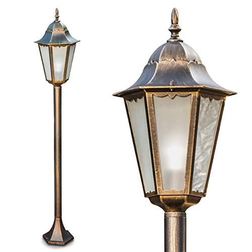 Außenleuchte Hongkong Frost, Stehlampe in antikem Look, Aluguß in Braun/Gold mit Milchglas-Scheiben, Wegeleuchte 122 cm, Retro/Vintage Gartenlampe, E27-Fassung, max. 100 Watt, IP44