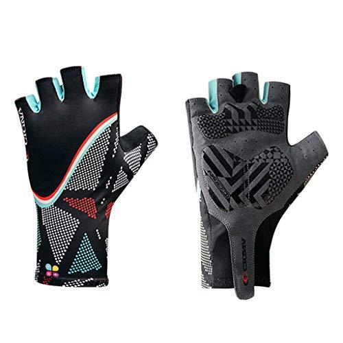 Gogokids Kinder Halber Finger Fahrradhandschuhe - Mountainbike Handschuhe für Sport Bergsteigen Rollschuhlaufen Radsporthandschuhe, Schwarz M