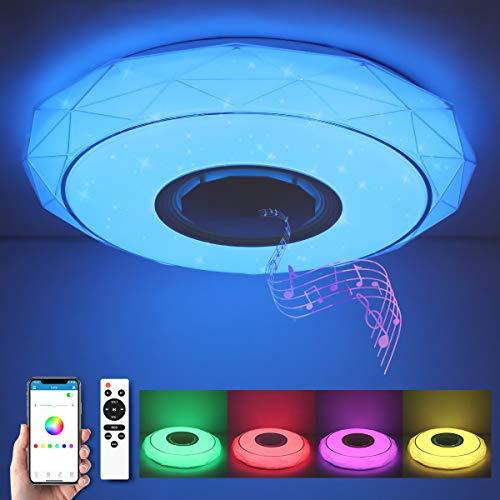 SHILOOK Lámpara LED de Techo Regulable con Altavoz Bluetooth, Mando a Distancia y Aplicación, 24W RGB Cambio de Color para...