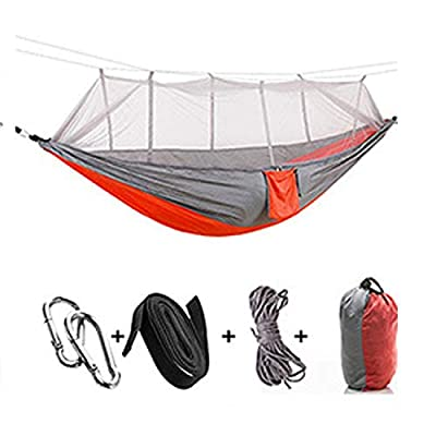 ZYLASTORE 1 2 Person Portable Outdoor Camping Hammock with Mosquito Net High Strength Parachute Fabric Hanging Bed Hunting Sleeping Swing,12
