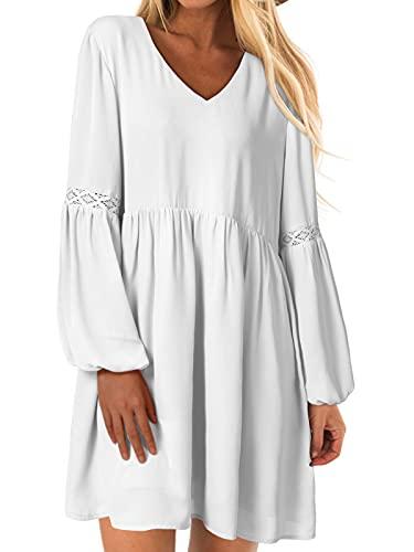 YOINS Sexy Kleid Damen Sommerkleid für Damen Babydoll Kleider Brautkleid Tshirt Kleid Rundhals Langarm Minikleid Langes Shirt Lose Tunika Strandkleid A-weiß XXL