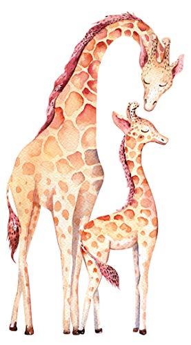 dekodino® Wandtattoo Aquarell Giraffen als Mutter und Kind Wandsticker Tiere