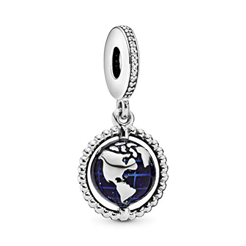 Pandora Jewelry Spinning Globe Dangle Cubic Zirconia Charm in Sterling Silver