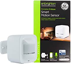 GE Enbrighten Z-Wave Plus Portable Smart Motion Sensor, Tabletop/Wall/Ceiling Mount, Battery or USB Powered, Works with Alexa, Google Assistant, ZWave Hub Required, 34193,White
