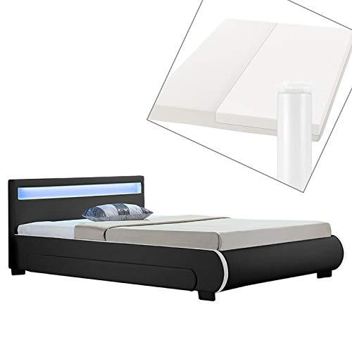 ArtLife Polsterbett Bilbao 140 x 200 cm schwarz mit Matratze, Bettkasten, Led-Beleuchtung und Lattenrost