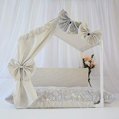 Camas para perros de princesa, perreras jaulas rosa beige interior casa de perro verano otoño casa tienda de campaña nido con alfombrilla de cama S60 x 38 x 51 cm beige