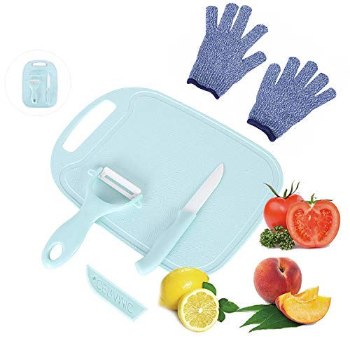 LLGLEU 4 Pieces Kids Cooking Supplies Knife Set and Cutting Board with Cut Resistant Gloves (Ages 6-12) Kids Safe Knife for Fruit, Bread, Cake, Lettuce, Salad (STYLE1)