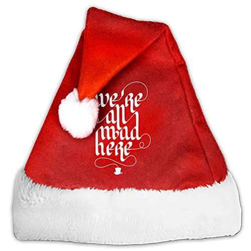 Christmas Hat We're All Mad Here Hat for Adults and Child Red Velvet Comfort Liner Christmas