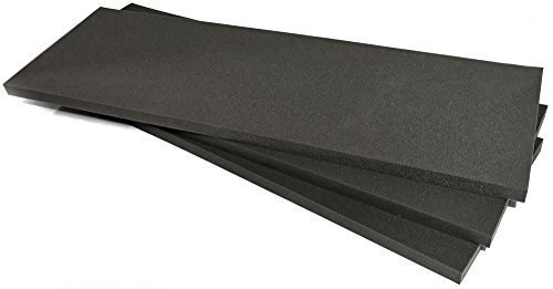 2 x 24 x 72 Polyurethane Charcoal Foam Padding Packing Foam (Pack of 3)