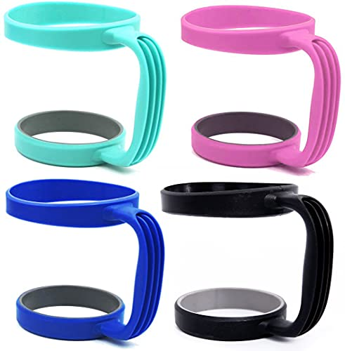 Tumbler 30 OZ Holder Handles,4pcs Mug Handle Cup Holder?Compatible with Yeti, RTIC, Ozark Trail, SIC, Boss, Rtic and Others 30 Ounce Cups (Pink, Black, Dark Blue, Green)