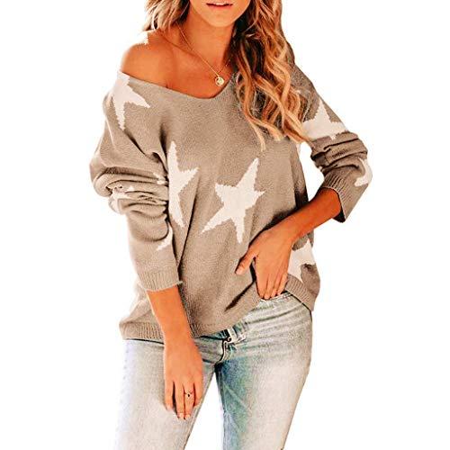 Damen Langarmshirt Sweatshirt mit Streifen Pullover Casual Shirt Rundhals Lose Oberteil Tunika Tops Frauen Mode Star Print V-Ausschnitt Langarm Kausal Lose Sweater Tops Bluse