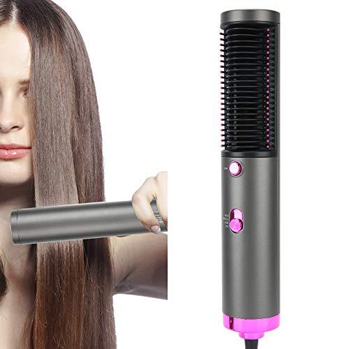 Cepillo de aire caliente, cepillo para alisar el cabello multifunción para mujeres, cepillo para el cabello con temperatura ajustable y uso en seco y húmedo (enchufe de la EU 220V)