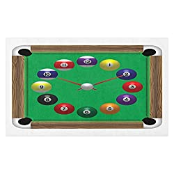 Lunarable Billiard Doormat, Digital Drawn Pool Table Look Clock Design with Numbered Balls and Cues Print, Decorative Polyester Floor Mat with Non-Skid Backing, 30 X 18, Multicolor