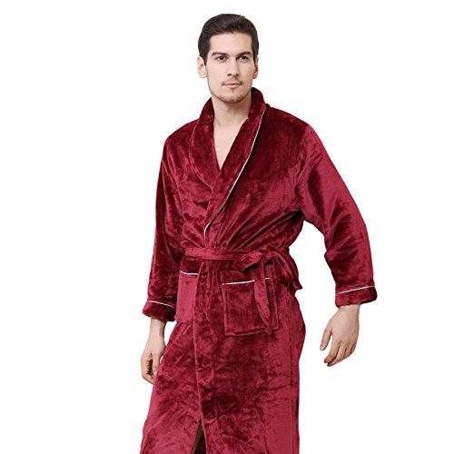 Unbekannt FEI Herbst und Winter Flanell Pyjamas Paar Robe Bademantel Männer Coral Cashmere Langarm Warm Home Kleid Damen Bademantel Weinrot Farbe (Farbe : Men, größe : L)