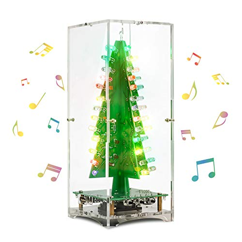 IS ICStation Upgrade 3D Christmas Tree Music Box Soldering Practice Project DIY Electronic Science Assemble Kit with 3W Speaker 7 Colors Flashing LED