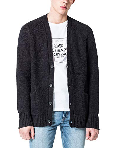 Cheap Monday Men's Deception Cardigan With V Neck Black in size Large