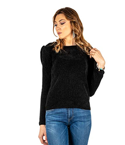 KOCCA Jersey para Mujer, Vaqueros Negros, Camiseta de Chenilla, Fabricado en Italia