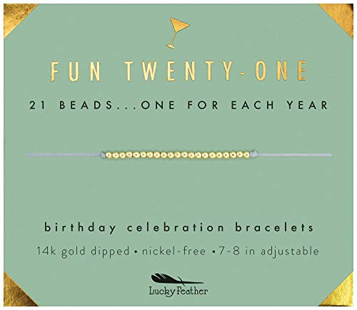 """Lucky Feather 21st Birthday Gifts For Her - 14K Gold Dipped Beads Bracelet on Adjustable 7""""- 8"""" Cord - Women Turning 21 Birthday Gifts For Her"""