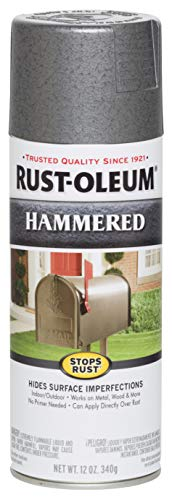 Rust-Oleum 7214830 Stops Rust Hammered Spray Paint, 12 Oz, Gray