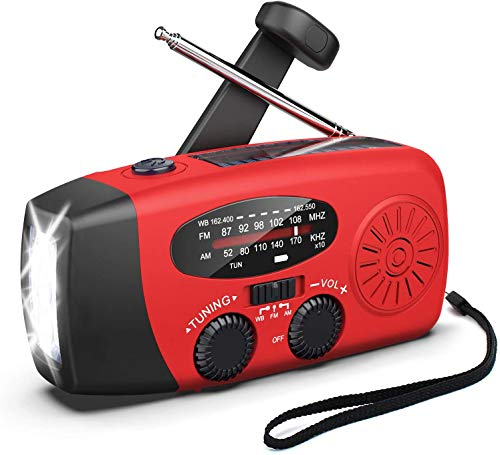 Emergency AM/FM/NOAA Weather Radio, Solar Hand Crank Charging Radio, 1000mAh Power Bank for Cell Phone Charger with Flashlight