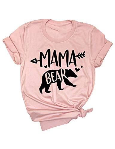 Dresswel Women Mama Bear Cartoon Letter Printed Round Neck Short Sleeve Pullover Tee T-Shirt