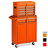 Rolling Tool Chest,Removable Tool Cabinet,Lockable Storage Tool Box,5-Sliding Drawers Tool Cart Organizer (orange)