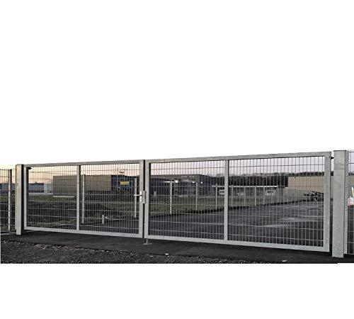 Dubbele vleugelpoort tuinpoort industriepoort mattenpoort inbouwbreedte 600 cm x hoogte 140 cm inrijstpoort voor industrie met bijzonder stabiel frame 100 x 40 mm/palen 100 x 100 mm